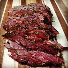 I've shared a venison pastrami recipe with you in the past, but here's a little different process that works well with multiple cuts of meat. Instead of utilizing a dry curing process, this recipe is … Venison Recipes, Dr Pepper Jerky Recipe, Venison Roast, Ground Venison, Sausage Recipes, Deer Meat, Antipasto, Cheese, Gastronomia