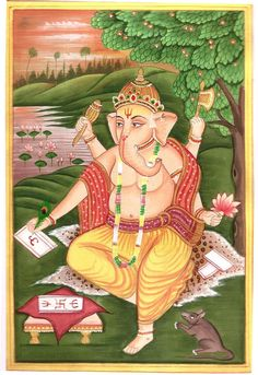 Lord Ganesh Painting Handmade Indian Miniature India Hindu Religion Ganesha Art