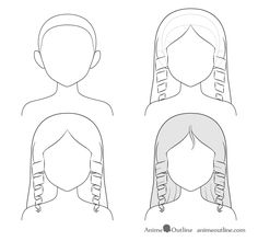 A tutorial on how to draw anime and manga hair for female characters with step by step instructions on drawing twelve different hairstyles Anime Long Hair, Manga Hair, Anime Hair, Kawaii Drawings, Cartoon Drawings, My Drawings, Short Hair Drawing, Glitch Wallpaper, Hair Sketch