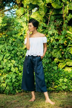 silk culottes with off shoulder top