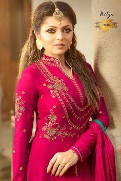 Drashti Dhami Hot Pink Designer Anarkali Salwar Suit Choose From Our Latest Collection Of Women Ethnic Wear, Ethnic salwar suits, Bridal salwar suit. Designer Anarkali, Designer Salwar Kameez, Abaya Fashion, Suit Fashion, Indian Fashion, Girl Fashion, Fasion, Abaya Mode, Embroidery Suits Punjabi