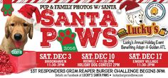 It's Lucky's Santa Paws Annual Holiday Fundraiser at Lucky's Burger & Brew Brookhaven TOMORROW 11:30- 2pm!! Bring the whole family and your pup, for photos with Santa! We'll have food and drink specials, and FUN for the whole family!  $10 suggested donation for photo sitting. Proceeds to benefit our pals at Adopt a Golden Atlanta! Dress your pup in holiday best for the ultimate family holiday photos with Santa! We'll be printing on-site to take home your pics that day.