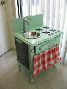 Repurpose a nightstand or end table for a kitchen set!!! Am I too old to make one of these?