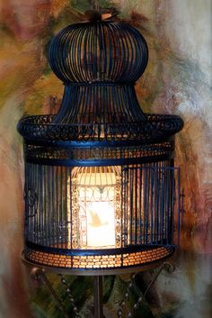 Restored Vintage Bird Cage Lamp with Stand