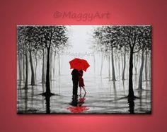 grande peinture abstraite art mural original pluie par maggyart