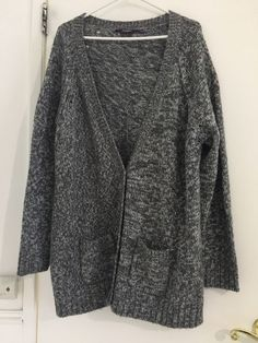Knit Sweater Cardigan Oversize Grey White Size 26 pockets  fashion   clothing  shoes   36860d94c