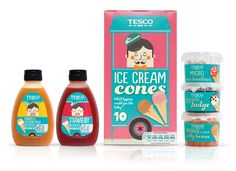 Having researched some initial ideas, Tesco wanted to avoid the obvious clichés around ice cream so R design responded with a design language that suggested the innocence and nostalgia that consumers so fondly associate with the world of ice cream.