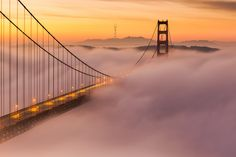Rare view of Sutro Tower in the background of Golden Gate Bridge San Francisco Sights, Gate Images, Just Like Heaven, Golden Gate Bridge, Mists, Sunrise, Tower, Landscape, Photography