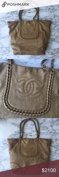CHANEL Large Tote! Exclusive Chanel Tote with Zipper closure. Gold chain detailing throughout Bag. Tan leather. In great shape. A little wear on the bottom corners of leather and missing the Zipper latch in the inside. (But it fully functions!) 2 cell phone pockets on the inside and to secret pockets on top can easily fit your cell phone for fast access. I don't have the packaging but it is AUTHENTIC! CHANEL Bags Totes