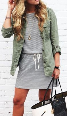 outfit of the day / stripped dress + khaki jacket + bag
