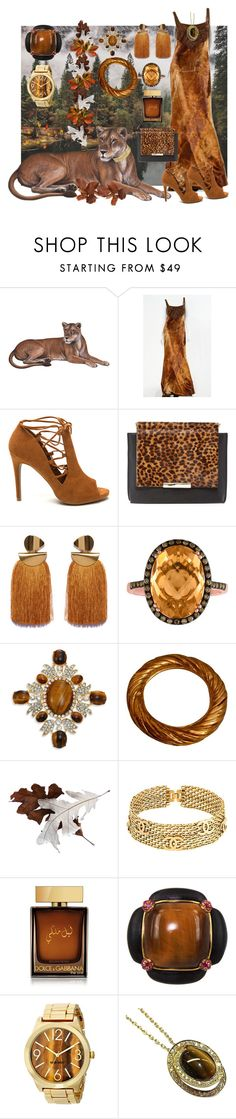 """""""Beauty Of The Wild"""" by nightnurse0441 ❤ liked on Polyvore featuring ESCADA, Alice + Olivia, Lizzie Fortunato, Kenneth Jay Lane, Yves Saint Laurent, Chanel, Dolce&Gabbana, Yuan Lai, Nine West and Roberto Coin"""