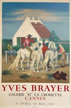Affiche lithographie originale: Gardians en Camargue, Provence. Auteur: Brayer Yves Date: 1961 Imprimeur: Mourlot, Paris