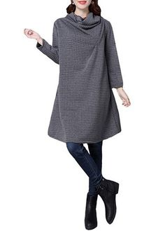 20.73$  Buy now - http://diub3.justgood.pw/go.php?t=162330 - Grey Cowl Neck Long Sleeve Dress 20.73$