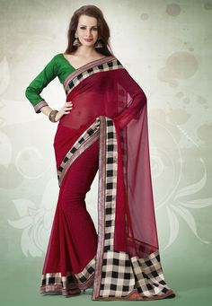 Dark #Red Faux Georgette and #Satin #Saree With Blouse @ $64.39