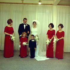 Wedding: Roger Guinness/Glenda Florence Larkin. Source: Upper Hutt City Library #vintagewedding #bridesmaids