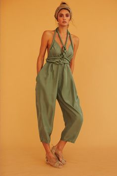 Infinite Rope Jumpsuit/pant | heavy silk habotai green infinite bandeau | Silk Burlap