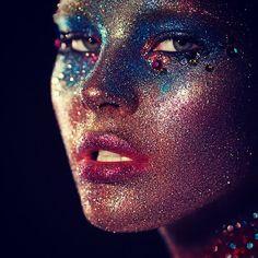 Space glitter makeup