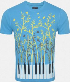 Zovi Piano Keys Aqua Blue Graphic T-shirt - Zovi Mens Tees