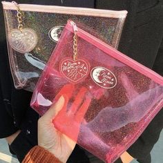 itGirl Shop | MOON TRANSPARENT GLITTER COSMETIC STATIONARY PURSE BAG