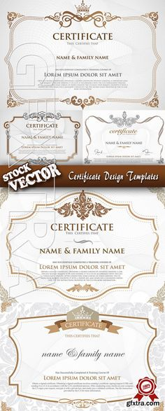 The certificate template design vector material certificate stock vector certificate design templates ms yelopaper Images