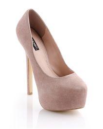 Gorgeous blush color platform heels.