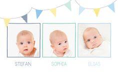 Sie sind kürzlich Eltern von Drillingen geworden und möchten dies der Welt mitteilen? Dann ist unsere Geburtskarte Girlande Drillinge genau das richtige ...