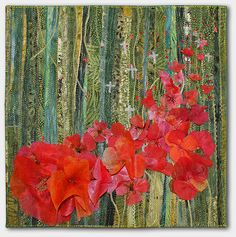"""Poppies, 12 x 12"""", by Anne Solomon: """"I made this piece to represent the fragility, beauty and the resilience of life"""""""
