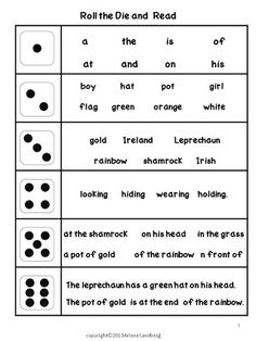 Classroom Freebies Too: St. Patrick's Day: Roll the Die and Read Ativities