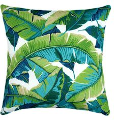 Tropical Outdoor Pillow Cover 21x21 Green Outdoor Cushion Banana Leaf... ($7.99) ❤ liked on Polyvore featuring home, home decor, throw pillows, decorative pillows, green, home & living, home décor, banana leaf throw pillow, turquoise outdoor pillows and green toss pillows
