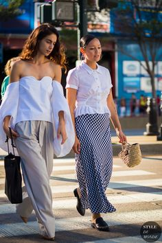Rachael Wang and colleague Street Style Street Fashion Streetsnaps by STYLEDUMONDE Street Style Fashion Photography