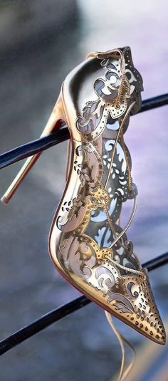 Christian Louboutin ~ High Heel Pumps, Gold/Silver