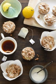 **PERFECT FOR MOTHER'S DAY** Lemon Earl Gray Streusel Muffins - Coffee cake-inspired muffins, infused with the flavors of tea and lemon zest. Topped with a simple brown sugar streusel and lemony glaze, they are perfect for breakfast or dessert! | foxeslovelemons.com
