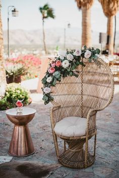 Metallic copper side tables are a great industrial-esque decor for any wedding theme | Image by EPLove Photography