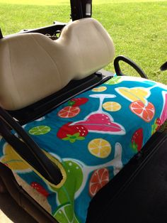 Cocktail Time Golf Cart Seat Cover in comfortable by GolfMeAround Golf Cart Seat Covers, Golf Cart Seats, Yamaha Golf Carts, Golf Theme, Golf Drivers, Golf Outfit, Golf Shoes, Baby Car Seats, Golf Courses
