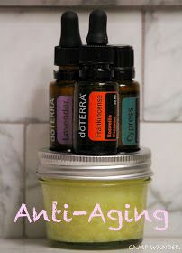 Anti-aging cream: wax, carrier oils, essential oils: cypress, lavender, frankincense