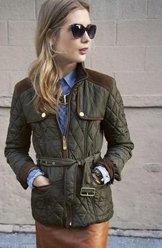 Quilted field jacket + Tan leather skirt