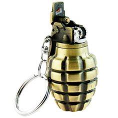 Hand grenade lighter keychain  http://www.supercoollighters.com/lighters/novelty-lighters/hand-grenade-lighter/
