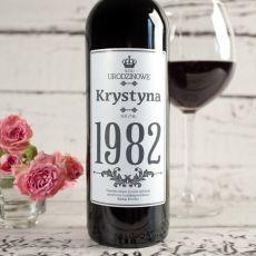 Personalizowane Czerwone Wino URODZINOWE idealny na urodziny