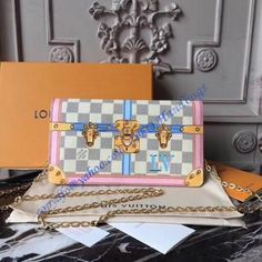 Buy LOUIS VUITTON Replica of top quality from China - Pochette Weekend Damier Azur Canvas is exclusively of top original order quality. Louis Vuitton Handbags, Purses And Handbags, Louis Vuitton Monogram, Louis Vuitton Damier, Pink Leather, Cowhide Leather, Designer Wallets, Designer Bags, Designer Handbags