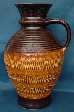Large Bay Keramik Handled Urn Shaped Vase No. 77 40 in Brown and Yellow