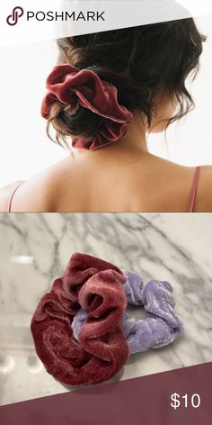 Pack 2 coloured hair scrunchies lace effect fabric bobble elastic lacy band
