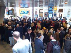 Crowd in Trades Hall atrium for Greg Combet (former ACTU secretary) book launch