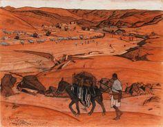 Jacques Majorelle (1886-1962) Tazoult, Sektana, Anti -Atlas, les Rchebs, 1927 Gouache, crayon et encres de couleurs sur carton 48 x 59,50 cm