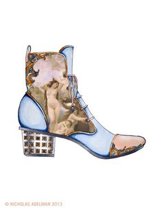 "The Birth of VenusI present my first mixed media shoe design, being mostly hand drawn. Bouguereau's ""Birth of Venus"" has been superimposed into the design of the boot as an homage to the work that inspired it."