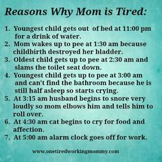 Reasons Why Mom is Tired... I laughed out loud... and not the laugh out loud where you actually just hear yourself laughing in your head but actually laughed... Yeah, Mommy's tired...