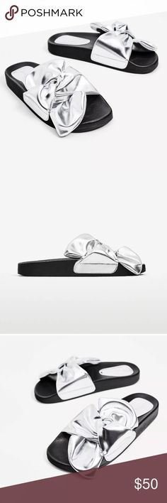 At Zara Silver Metallic Slide Sandal Gorgeous and comfy silver metallic slide sandals by Zara. Size 35 but I def think they could fit anywhere between a 35 and 36 because they're a slide Sandal and in my opinion Zara shoes run a bit big. Let me know if you have any questions Zara Shoes Sandals