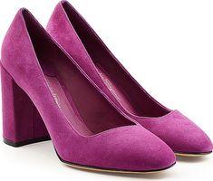 f45367295c Salvatore Ferragamo Suede Pumps - Block Heels - Purple. In magenta-toned  purple suede