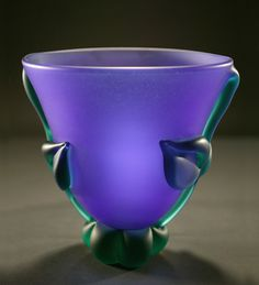 """Art-glass bowl entitled """"Cobalt Green Botanical Bowl: Mid-Size,"""" created by Tommie Rush"""