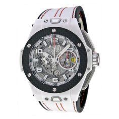 Hublot Big Bang Ferrari White Ceramic Carbon Dial Skeleton Ceramic Men's Sports Watch 401.HQ.0121.VR