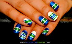 Similiar to the canuck nails i did - Sports Themed Nails . Cute Toe Nails, Fancy Nails, Love Nails, Pretty Nails, My Nails, Hockey Nails, Flag Nails, Toe Nail Designs, Nail Treatment